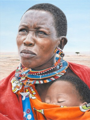 """Masai Mother and Child"" 18x24"" ORIGINAL: FOR SALE. Limited Edition Giclee Prints available. Copyright Holly Kavonic"