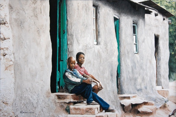 """Two Boys Sitting on a Step"" 24x36"" Limited Edition Giclee Prints available. Copyright Holly Kavonic"