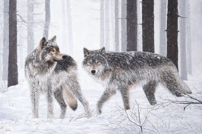 """Winter Wolves"" 24x36"" Limited Edition Giclee Prints available. Copyright Holly Kavonic"