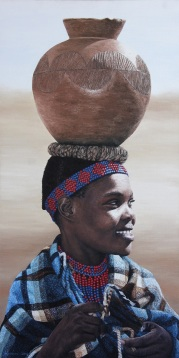 """Woman with Clay Pot"" 20x40"" Limited Edition Giclee Prints available. Copyright Holly Kavonic"